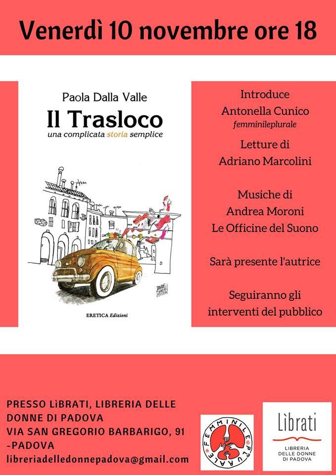 locandina presentazione IL TRASLOCO libreria delle donne 10.11.2017